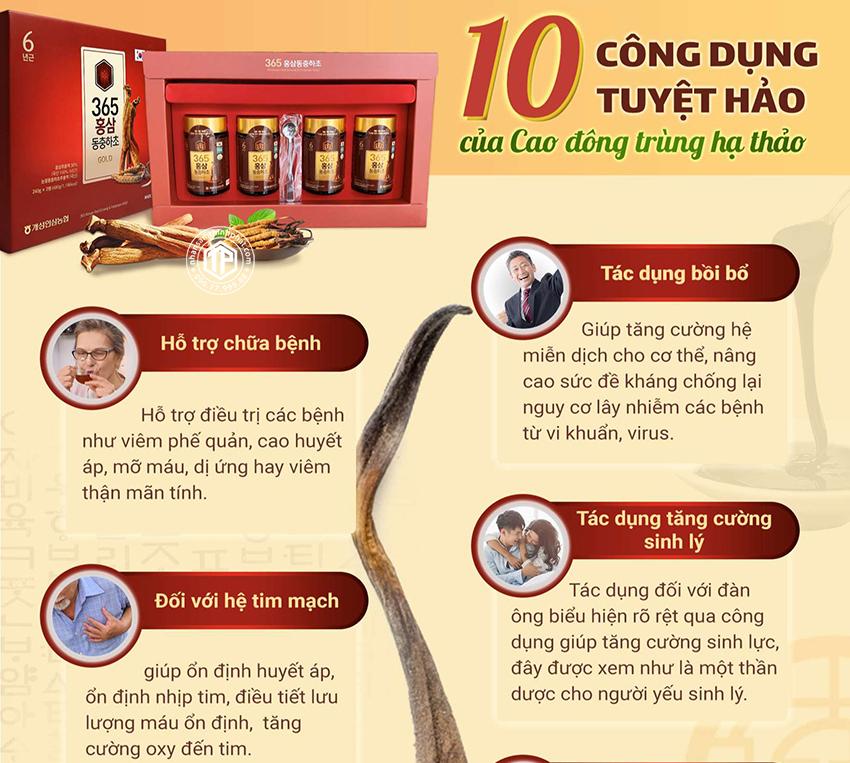10 công dụng tuyệt hảo của cao đông trùng hạ thảo