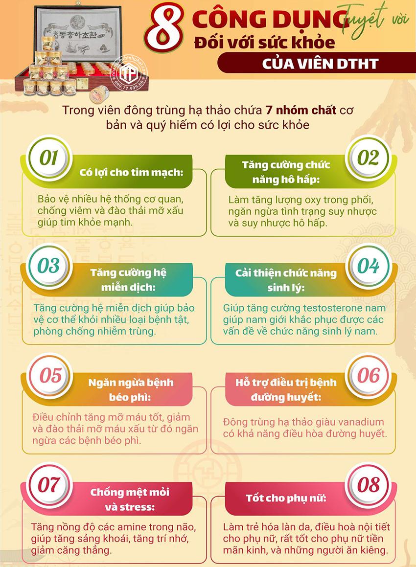 8 công dụng tuyệt vời đối với sức khỏe của viên đông trùng hạ thảo