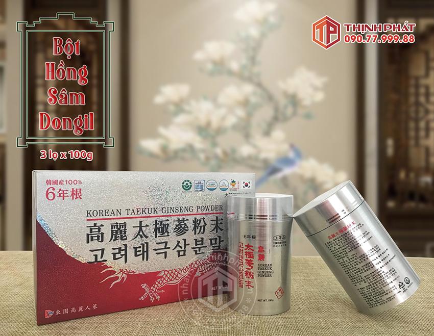Bột Hồng Sâm Hàn Quốc 100% Dongil Hàn Quốc hộp 3 lọ x 100g chính hãng