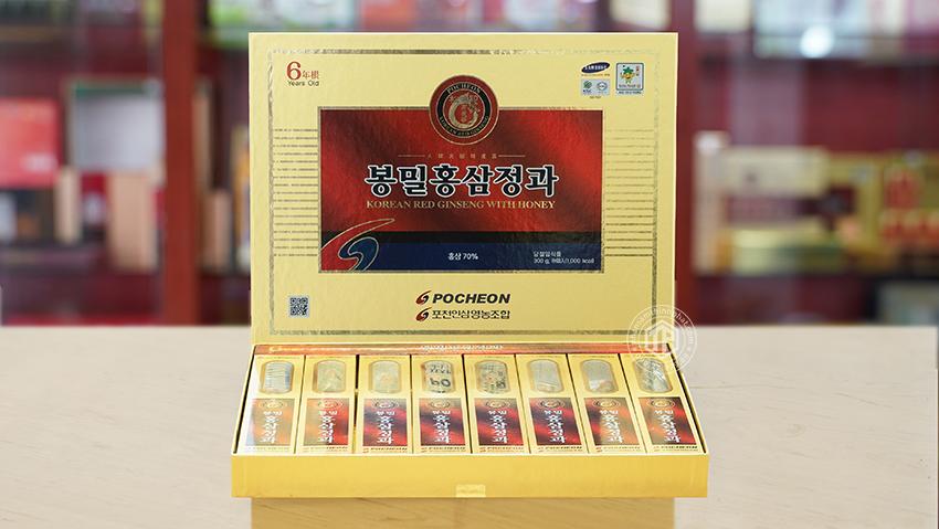 Hồng sâm nguyên củ tẩm mật ong hộp 300g chính hãng Pocheon sâm Hàn Quốc 6 năm tuổi