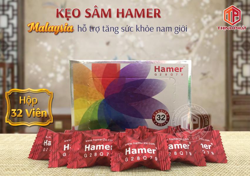 Kẹo sâm Hamer Malaysia hỗ trợ tăng sức khỏe cho nam giới hộp 32 viên