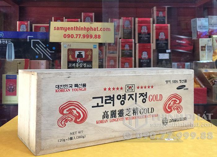 Cao linh chi sao đỏ Hàn Quốc Gold hộp gỗ 3 lọ x 120g