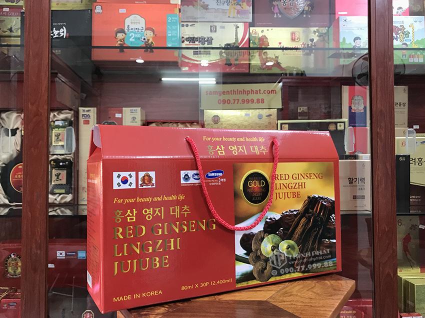Nước hồng sâm linh chi táo đỏ Hàn Quốc hộp 30 gói x 80ml