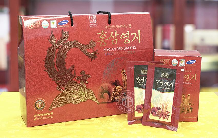 Nước hồng sâm linh-chi Hàn Quốc cao cấp chính hãng Pocheon