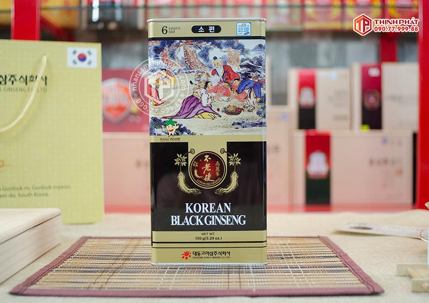 Hắc sâm củ khô 150g hộp thiếc chính hãng Deadong Hàn Quốc