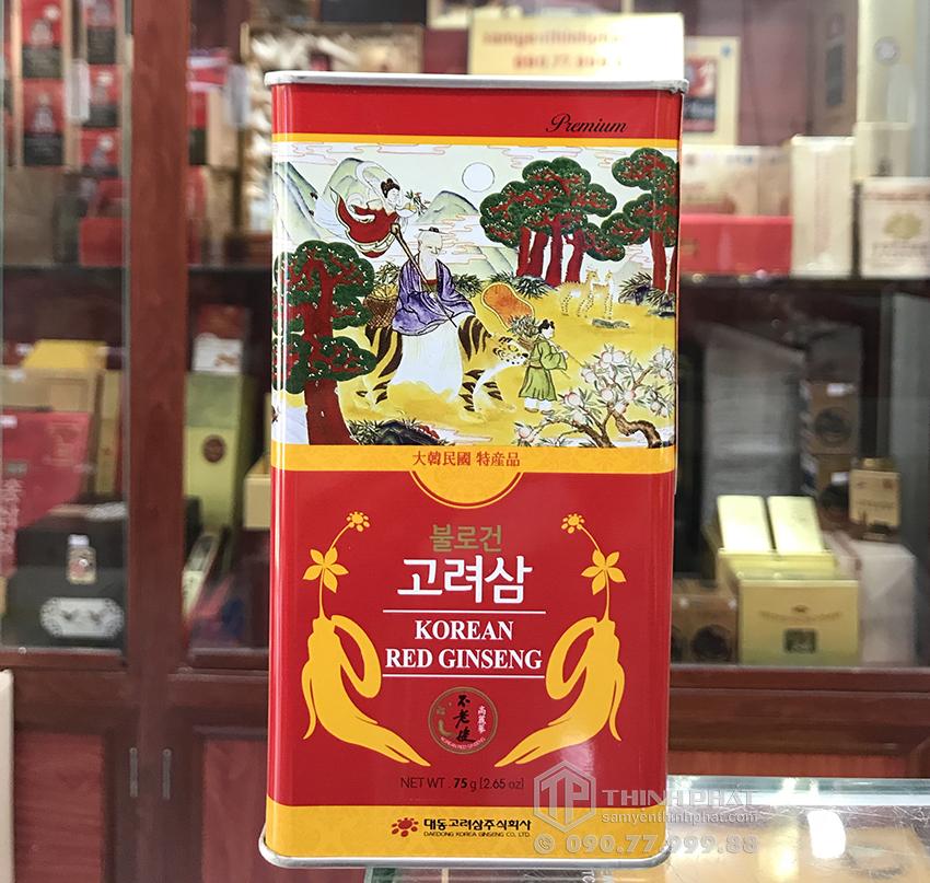 Hồng sâm củ khô 6 năm tuổi 75g hộp thiếc chính hãng Deadong Hàn Quốc