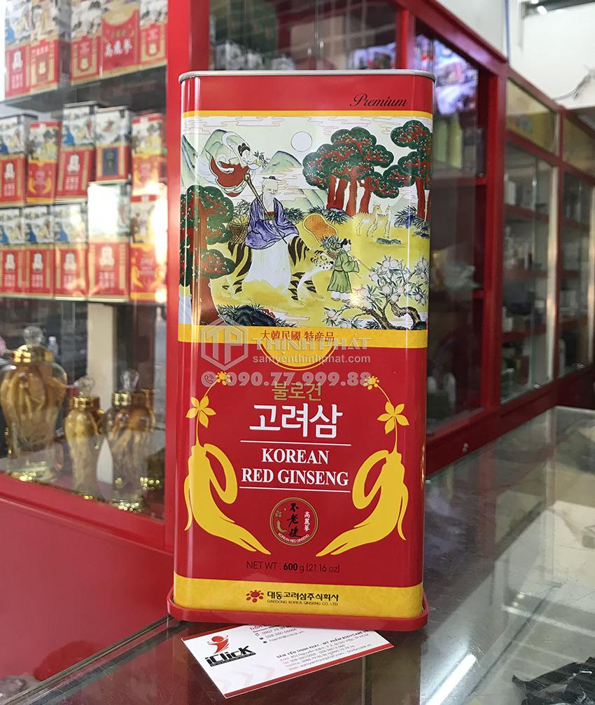 Hồng Sâm Củ Khô Hộp Thiếc 600g Chính hãng Deadong Hàn Quốc