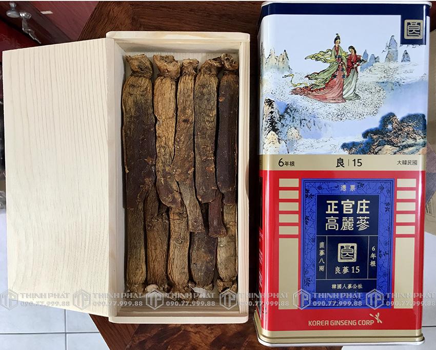 Hồng sâm củ khô hộp thiếc KGC 300g 10 củ số 15 - Hồng sâm chính phủ Cheong Kwan Jang