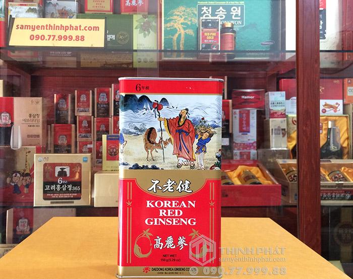 Hồng sâm củ khô 6 năm tuổi 150g hộp thiếc chính hãng Deadong Hàn Quốc