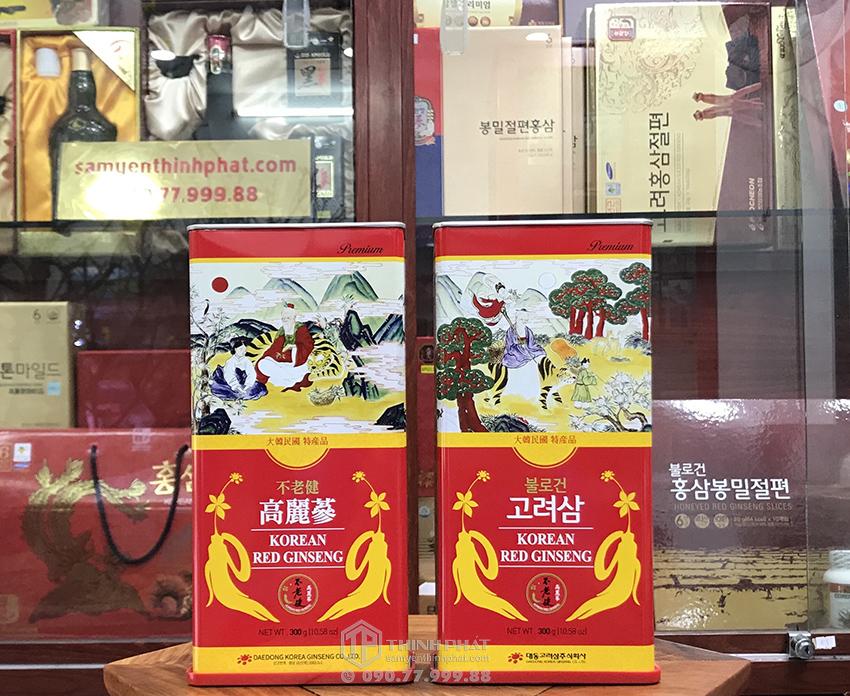 Hồng sâm khô hộp thiếc 300g 20 củ chính hãng Deadong Hàn Quốc