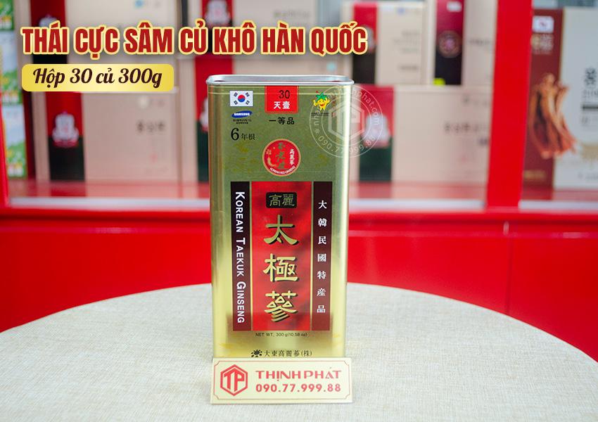 Thái cực sâm củ khô Hàn Quốc chính hãng hộp 30 củ 300g