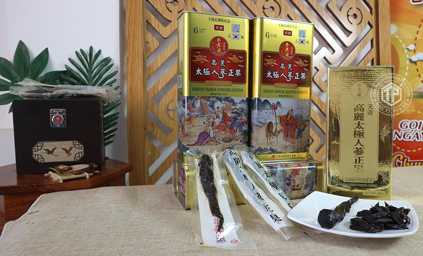 Thái cực sâm tẩm mật ong hộp thiếc 600g Sâm Hàn Quốc 6 năm tuổi cao cấp chính hãng Daedong