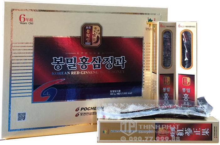 Hồng sâm Hàn Quốc 6 năm tuổi nguyên củ tẩm mật ong hộp 300g Pocheon