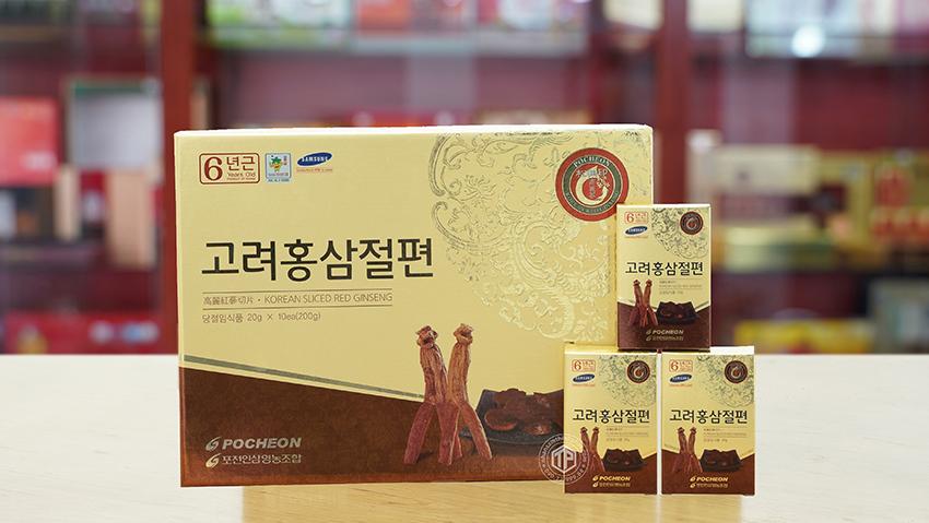 Hồng sâm lát tẩm mật ong sâm Hàn Quốc chính hãng Pocheon hộp 200g