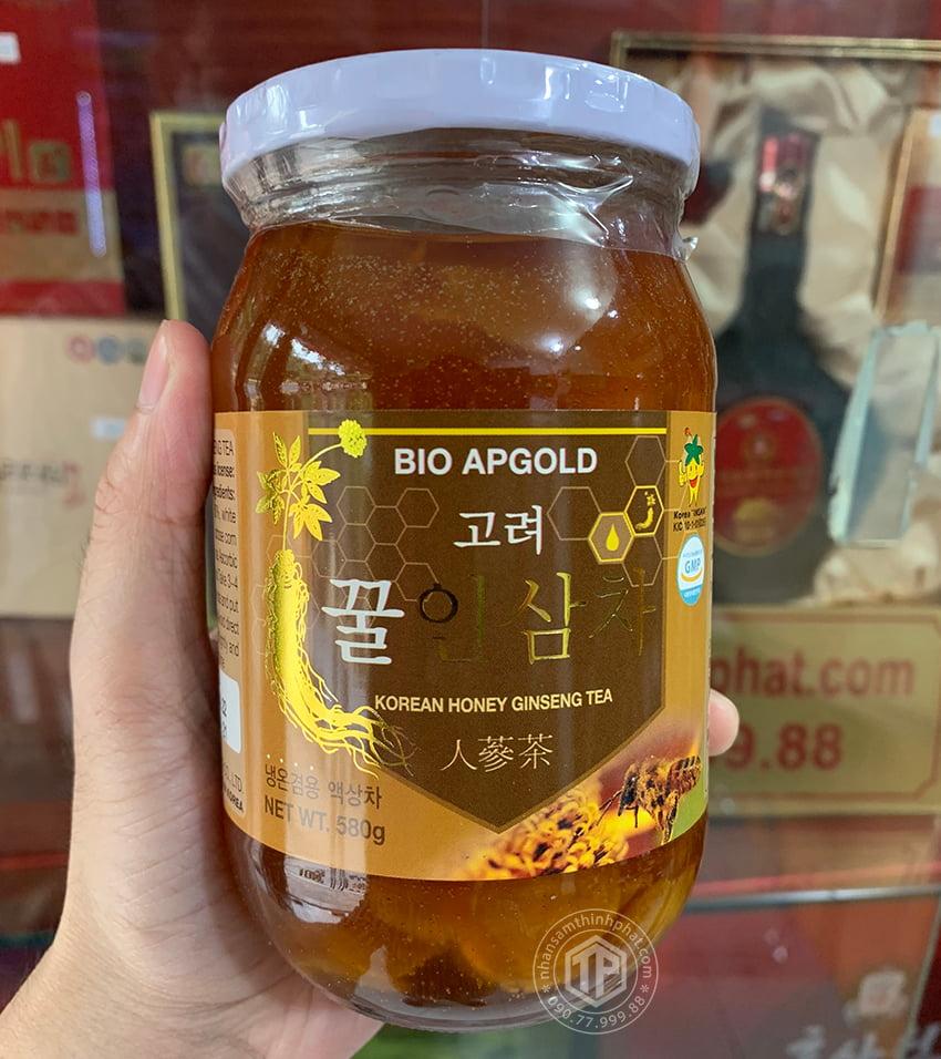 Nhân sâm tươi Hàn Quốc ngâm mật ong lọ 580g Bio Apgold