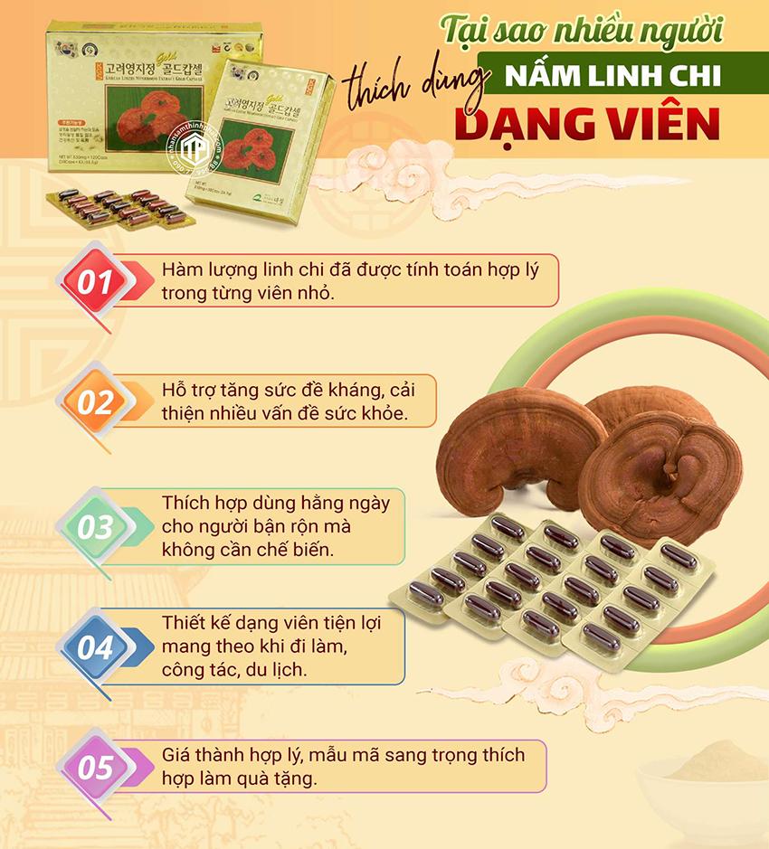 Tại sao nhiều người thích dùng nấm linh chi dạng viên?