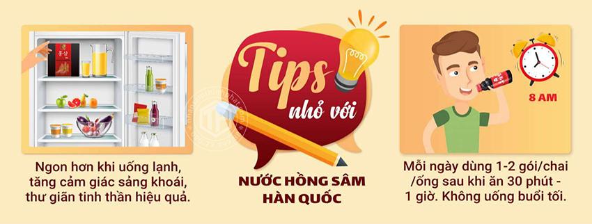 Tips nhỏ đối với nước hồng sâm Hàn Quốc