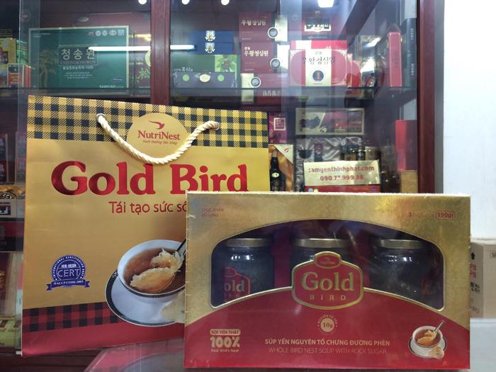 Tổ yến chưng đường phèn 100% tổ yến hộp 3 lọ - 190ml/ lọ -  gold bird