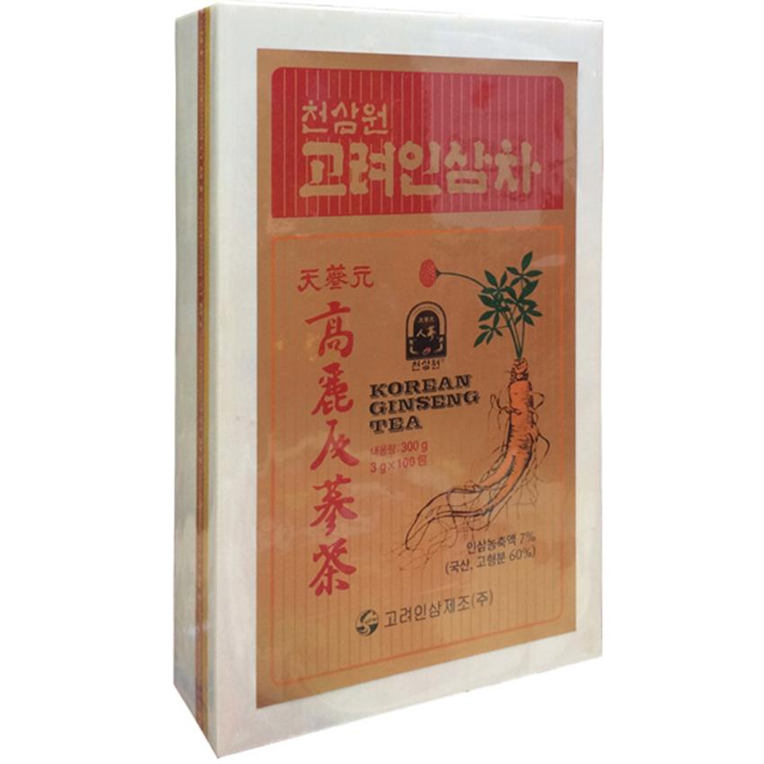 Trà hồng sâm Hàn Quốc hộp gỗ 100 gói