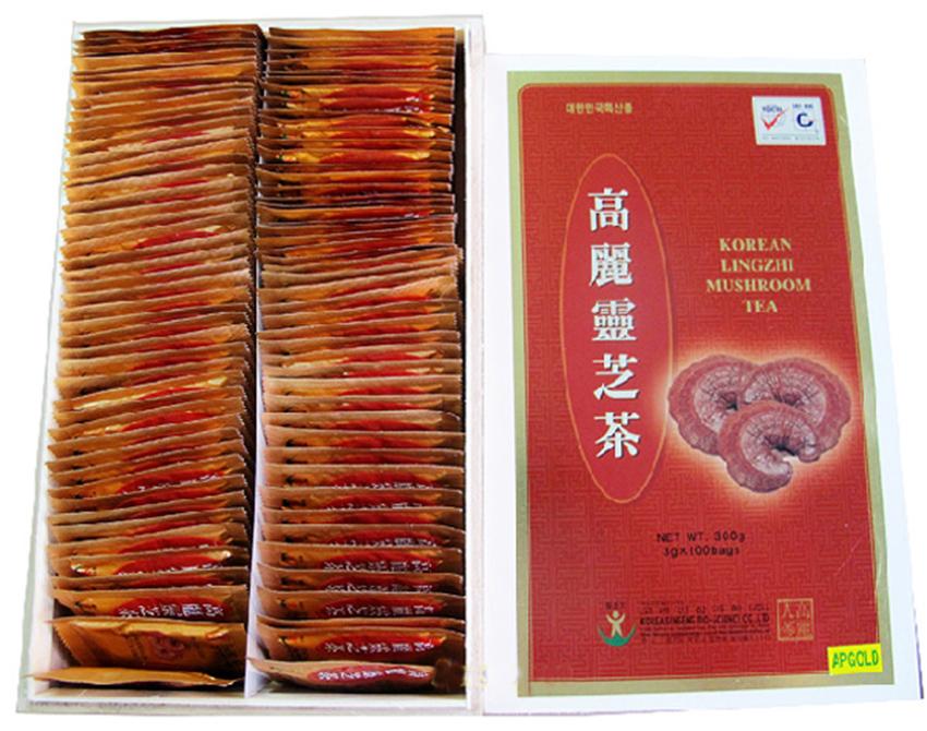 Trà linh chi Hàn Quốc hộp gỗ 100 gói