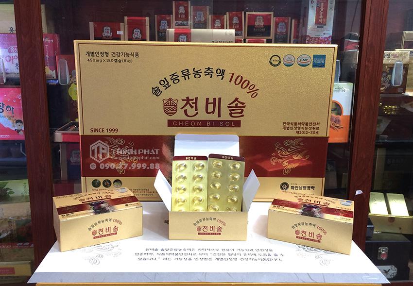 Viên tinh dầu thông đỏ Hàn Quốc Cheon Bi Sol cao cấp hộp 180 viên