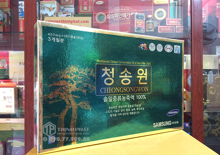 Viên tinh dầu thông đỏ Hàn Quốc Cheongsongwon 180 viên hộp xanh
